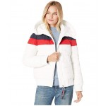Color Block Puffer w/ Hood White