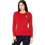 LAUREN Ralph Lauren Petite Button Trim Cable Knit Sweater Lipstick Red