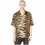 DSQUARED2 Tiger Camo Printed Silk Twill Shirt Brown