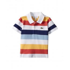 Short Sleeve Multicolor Striped Pique Polo (Infant/Toddler/Little Kids/Big Kids) White/Dragonfly/Maritime