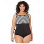 Plus Size Texture Stripe Double Cross-Back One-Piece
