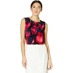 Floral Bead Neck Knit Top Scarlet Multi