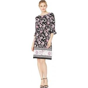 Printed Ity 3/4 Ruffle Sleeve Dress Black/Pink Multi