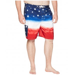 Big & Tall Polyester Kaiula Swim Trunk Watercolor Red/White/Blue Ombre