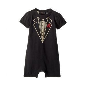 Tuxedo Short Sleeve Playsuit (Infant) Black