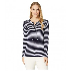 Cut Out Lace-Up Top True Navy/White