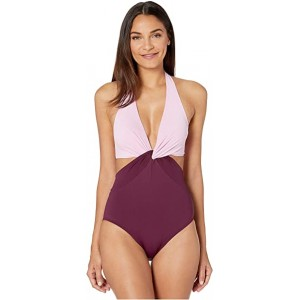 Color Blocking Knotted Halter One-Piece Raisin