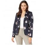 Floral One-Button Cotton Blazer Midnight/Grenadine
