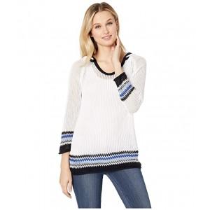 3/4 Sleeve Cotton Yarn Hooded Sweater White