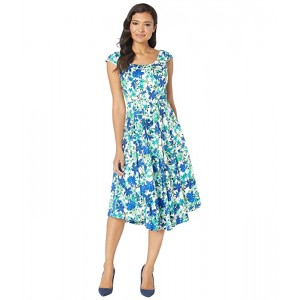 Cap Sleeve Floral Print Fit & Flare Dress