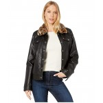 Faux Leather Trucker with Sherpa Lining and Collar