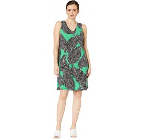 Leaf Printed Ity V-Neck Sleeveless Trapeze Dress Parrot/Black Multi