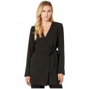 Tie Waist Soft Suiting Jacket Black/Cream