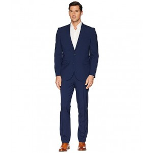 Slim Fit Stretch Performance 32 Finished Bottom Suit Blue Box Check