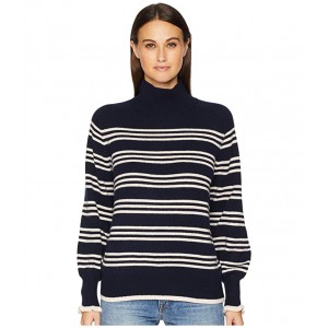 Striped Turtleneck Pullover Navy Combo
