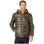 Faux Leather Faux Down Jacket Olive Camo/Sun