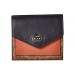 Color Block Coated Canvas Signature Small Wallet