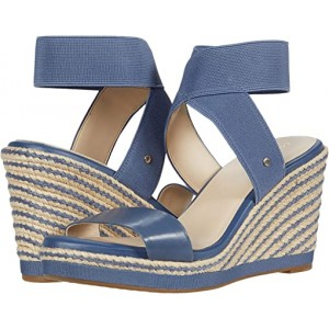 Cole Haan Cloudfeel Espadrille Elastic Wedge 90 mm Vintage Indigo Leather/Tonal Stretch Gore Natural