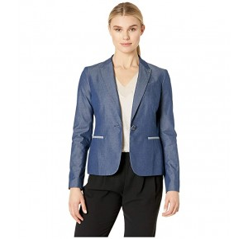 Cotton Shirting Elbow Patch Jacket Indigo