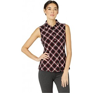 Plaid Collared Button Front Knit Top Black/Scarlet