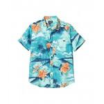 Billabong Kids Sundays Floral Short Sleeve Shirt (Big Kids) 1 Aqua Blue