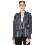 Stripe One-Button Jacket Indigo/Ivory