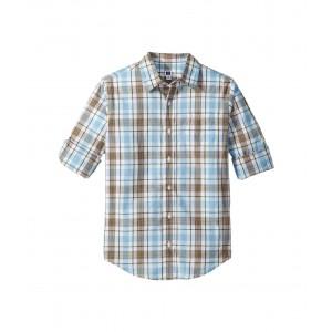 Roll Sleeve Button-Up Shirt (Toddler/Little Kids/Big Kids) Light Blue Plaid