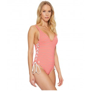 Resort Stripes Lace Side Mio Coral