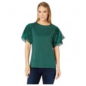 Velvet Flutter Sleeve Tee Dark Emerald