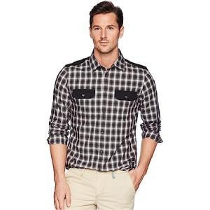 Solid Pocket Flap Nebraska Check Button Down Shirt Black