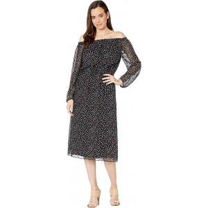 Sprinkle Dot Midi Long Sleeve Peasant Dress Black/Honolulu Multi