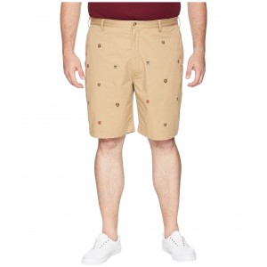 Big & Tall Cotton Stretch Twill Embroidered Bedford Shorts Luxury Tan/Embroidered