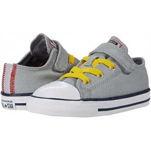 Converse Kids Chuck Taylor All Star 1V Denim - Ox (Infantu002FToddler) Ash Stone/University Red/Speed Yellow