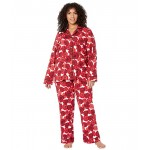 Plus Size Long Sleeve Classic Notch Collar Pajama Set