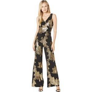 Ity Rose Foil Printed Sleeveless Jumpsuit w/ Surplus Detail & Asymmetrical Bodice Black/Gold