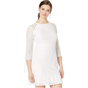 Lace 3/4 Sleeve Dress with Binding and Faggoting Details Ivory