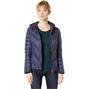 Packable Down Hooded Zip Front Jacket Navy