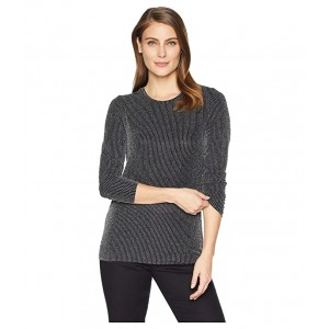 High Neck Fitted Long Sleeve Black/Silver