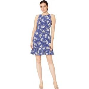 Floral Speckle Sleeveless Dress w/ Panel Hem Royal/Ivory Multi