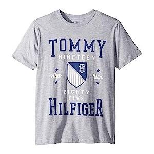 Tommy Crest Crew Neck Tee (Big Kids) Grey Heather