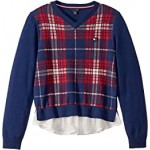 TH High-Low Plaid Sweater (Big Kids)