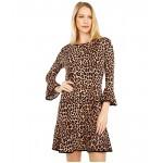 Petite Cheetah Flounce Dress