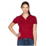 Short Sleeve Slim Fit Stretch Pique Polo Shirt Bordeaux