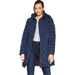 """Multi Quilt 35"""" Belted Puffer Navy"""