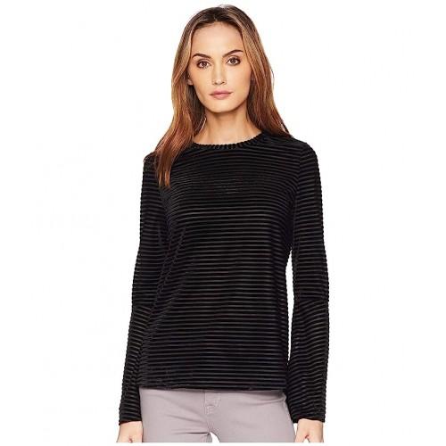 마이클 코어스 Velvet Stripe Flare Sleeve Top Black