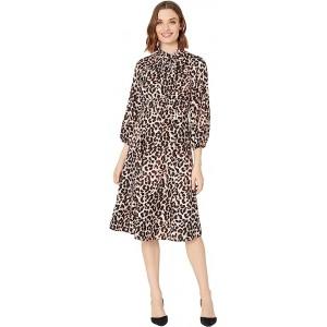 3/4 Sleeve Animal Print A-Line Dress with Tie Neck