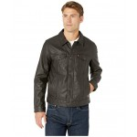 Laydown Collar Classic Trucker w/ Fly Front Snap Placket Chambray Lining Brown
