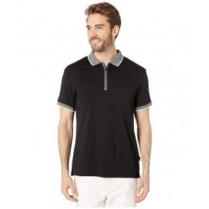 Short Sleeve Marbled Collar Interlock Zip Polo Black