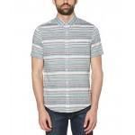 Original Penguin Linen Blend Engineered Stripe Short Sleeve Button-Down Shirt Heliotrope