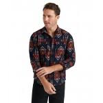Lucky Brand Humbolt Workwear Shirt Blue Jacquard